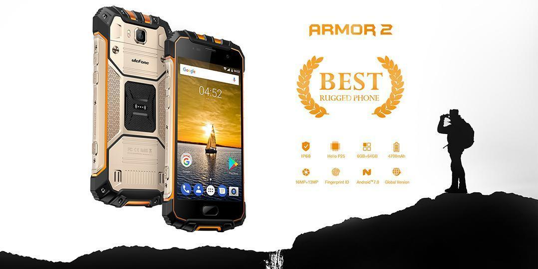 ulefone armor 2 smartphone tout terrain certifi ip 68. Black Bedroom Furniture Sets. Home Design Ideas