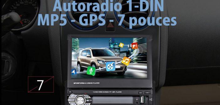 Autoradio 1-DIN avec MP5 et GPS sur écran 7 pouces