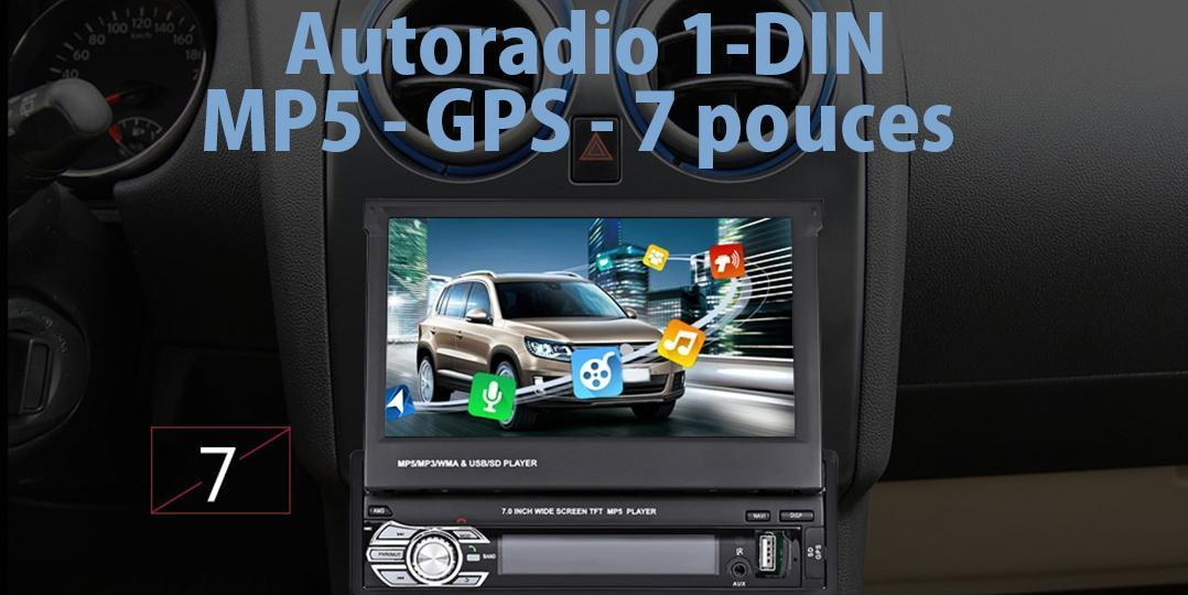 autoradio 1 din avec mp5 et gps sur cran 7 pouces tablette tablette et. Black Bedroom Furniture Sets. Home Design Ideas