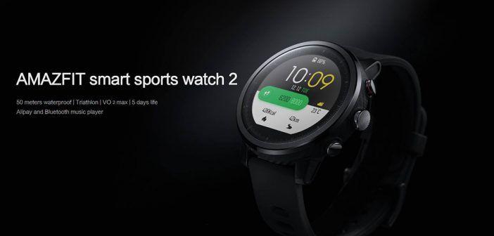 Montre de sport multifonction Xiaomi HUAMI AMAZFIT Stratos Version 2 / Écran 1.34 Pouces / Résistant à L'eau / GPS Firstbeat / Mode de Natation WOS 2.0 / Bracelet en silicone noir
