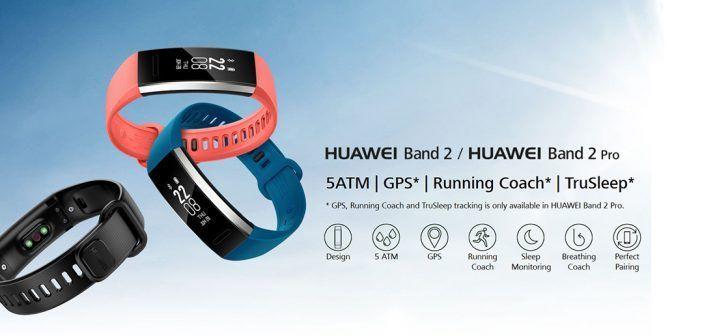 Montre intelligente Huawei bande 2 Pro / PMOLED Sport Tracker avec GPS / Cardiofréquencemètre / Bracelet fitness  compatible avec iOS Android – Noire